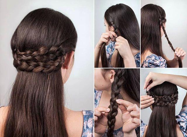 Распущенные волосы с венцом из кос